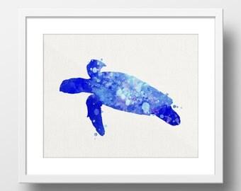 Sea Turtle Wall Art, Watercolor Digital Print, Art Print, Instant Download