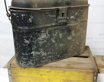 Old Metal Fishing Bait Bucket - Oval