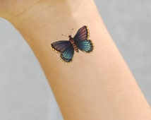 Vintage Antique Butterfly Temporary Tattoo Pack of 2