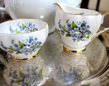 1960s Queen Anne Bone China Cream and Sugar Set