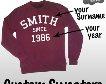 Custom Sweatshirt Personalised Jumper Sweater Pullover Your Name Varsity College Top Shirt