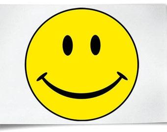 Smiley Face Iron On T-Shirt Transfer Yellow Acid House Emoticon Smily Text Happy Icon