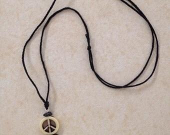 Peace Handmade Hippie necklace- Black engery rock