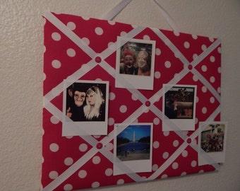 Red and white polka dot photo memory board