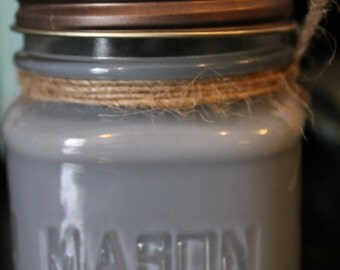 8 oz square Mason Jar Soy Candle - Prince Charming Scent