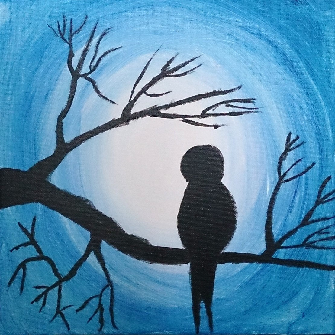 Bird painting moon painting bird on branch by anisartgallery for Fairy painting easy