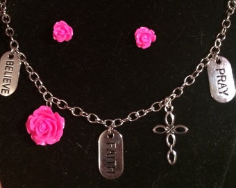Pink Rose Pray, Faith, & Believe Bracelet