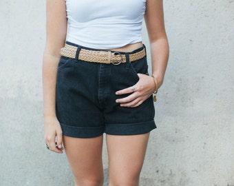 Black Vintage Denim Wrangler High Waisted Shorts