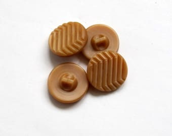Vintage Brown Glass Buttons, Geometric Design Buttons, Art Deco Buttons,  Set of 4 Soviet Sewing Buttons 1970's