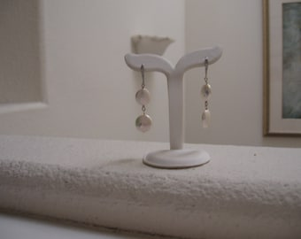 Double Coin Pearl Drop Earrins