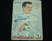 Vintage Pearl Shirt Buttons - 6 buttons on Orginal Button Card - NOS