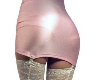 Baby Pink high waisted spandex suspender mini skirt