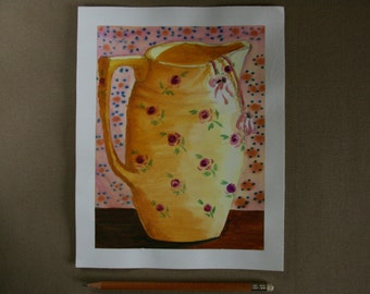 Still life pitcher  - Watercolor Painting