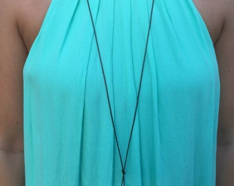 Multiple Pearl and Leather Necklace Long Length