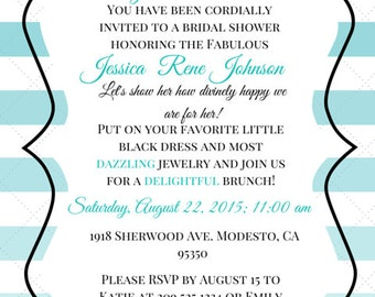 Breakfast at Tiffany's Themed Bridal Shower Invitation Template