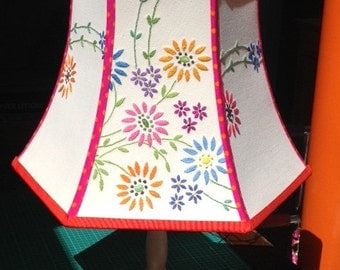 Vibrant large lampshade with colourful embroidery