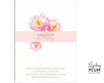 Flower Birthday Invitation / First Birthday Invite / Peony Invite / English Invite / Pink Invite / Garden brunch invite / *Digital file*