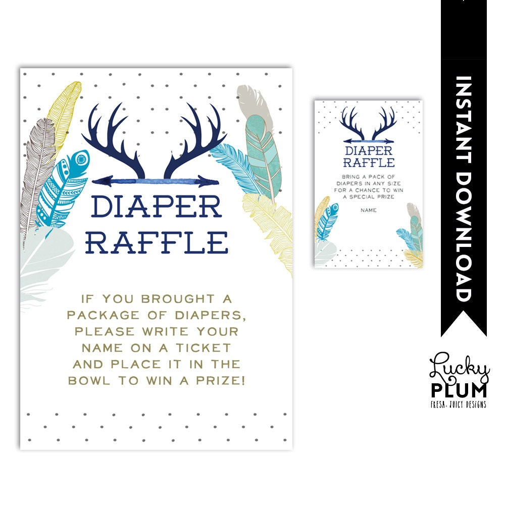 deer baby shower diaper raffle boho bohemian diaper raffle