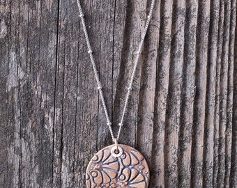 Bronze Metal Clay Pendant - Circle Fan - NB182