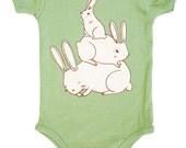 Bunny Onesie Bunny Baby Shower Gift – Green Baby Shower Gift Green Baby Clothing Gender Neutral Baby Clothing
