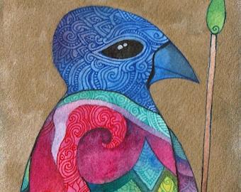 Blue Crow Original Watercolor by Megan Noel
