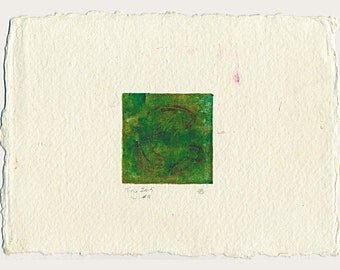 Monotype collagraph print Tiny 2015 series #11 viridian green cobalt violet Khadi handmade paper affordable original abstract art