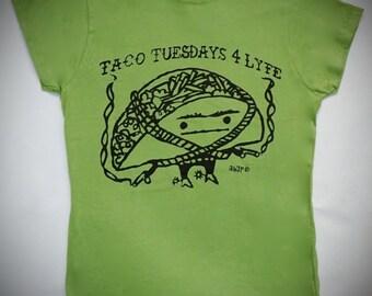 Taco Tuesdays 4 Lyfe Guacamole Green Lady Tee