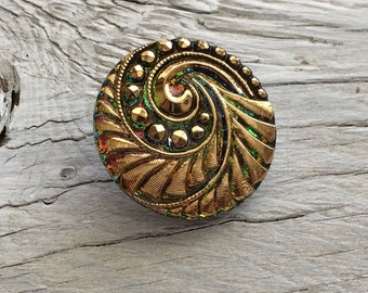 Czech glass button green and gold 27mm