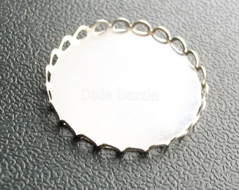 20 25 mm silver lace edge pendant trays, bezel settings, holds 25mm cabochon