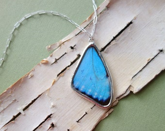 Real Butterfly Wing Necklace, Small Blue Morpho - turquoise wing statement necklace pendant, March September birthstone