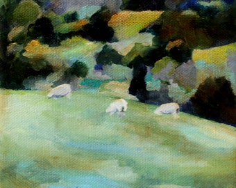 Sheep original oil painting 6x6 inches daily painting pastoral oil painting of hillside and sheep