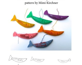 Fish Ornament pdf Pattern Tutorial Felt toy embroidery hand stitch