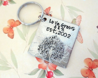 Love Grows Tree of Life Key Chain Hand Stamped He asked She said Yes Engagement Gift Wedding Anniversary  Wedding Gift