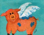 Flying Pig Original painting on mini canvas with Easel 3 x 3 original whimsical pig art, nursery art, office decor, pigs with wings
