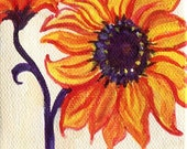 Sunflower Painting, Easel, Red Sunflower on Canvas, Original acrylic painting, sunflower art, sunflower decor