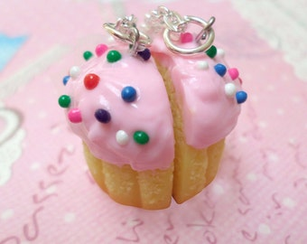 BFF Necklace Set: Best Friend Pink Confetti Cupcake Necklaces, Best Friend Necklaces, Miniature Food Jewelry, Polymer Clay Food Necklace