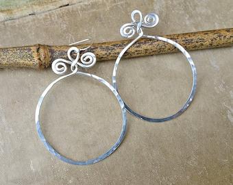 Very Big Sterling Silver Hoop Earrings With Spiral Twists, Hammered Big Hoop Earrings, Silver Wire Jewelry, Gift for Her Boho Hoops, Women