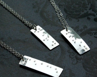 Custom sterling silver or 14k gold fill braille necklace