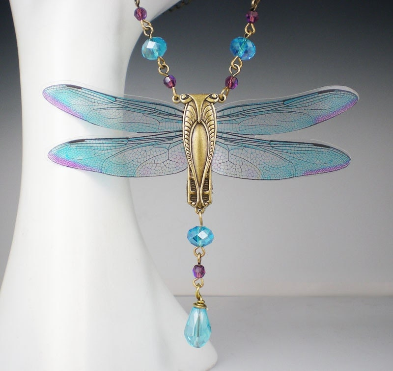 dragonfly necklace aqua violet nouveau vintage inspired