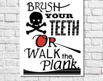 Boys Bathroom Decor Brush Your Teeth Print Pirate Bathroom Wall Art Nautical Bathroom Rules Kids Bathroom Prints Pirate Theme Walk The Plank