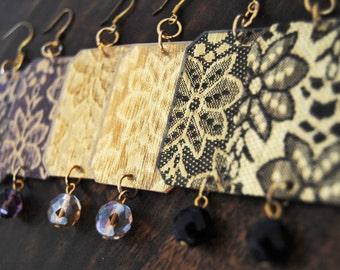 Bridesmaid earrings, Gift for bridesmaids, Laser cut Luxury rectangular earrings, Geometric earrings, Laser Cut jewelry, Vintage jewelry