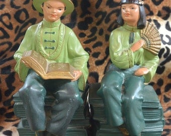 SALE: Alexander Backer Co NY ABCO Pair of Chalkware Oriental Bookends Vintage Midcentury Figurines