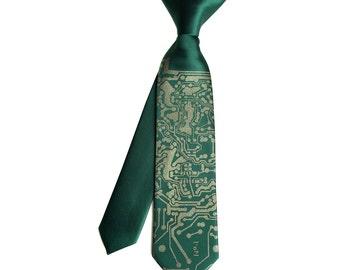 Circuit Board kids tie. Boys clip-on necktie. Baby, toddler, or youth size Short Circuit tie. Emerald green & more. Silkscreen design.