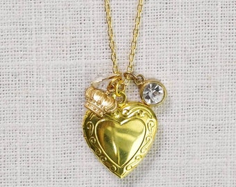 CLEARANCE . queen for a day . gold heart locket charm necklace (bits and pieces sale)