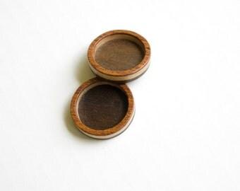 Miniature Marquetry Hardwood Bezel Trays - 25.5 mm - Mahogany, Walnut and Maple - (Z253-X) - Set of 2