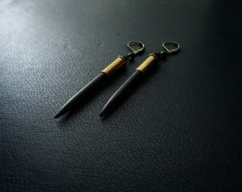 deity earrings - black howlite spikes set in .22 bullet casings - spiked occult jewelry