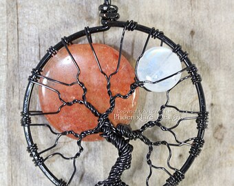 Sun and Moon Tree of Life Pendant Black Wire Wrapped Necklace Rainbow Moonstone Jewelry Opal Halloween Harvest Moon Celestial Jewelry