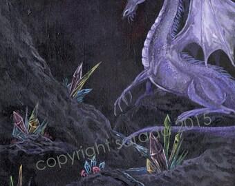 Purple crystal amethyst dragon, 5 x7 print fantasy sci fi art, gothic moon, surreal rainbow dark fantasy occult decor, magic jewels