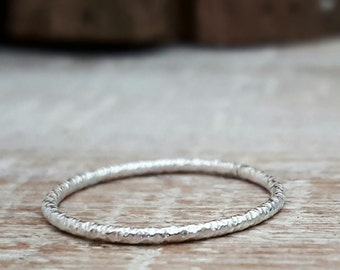 Texturized Skinny Sterling Silver Ring, Handmade Stackable Ring