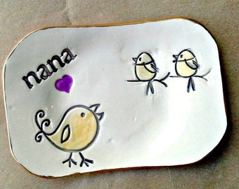 NANA Trinket  Dish 2 Birdies edged in gold  Mothers day
